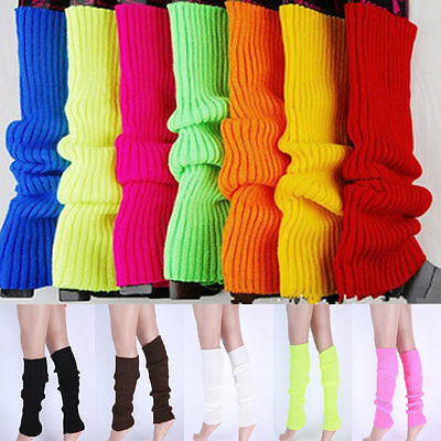 Womens LegWarmers Knitted Knit Neon Dance 80s Costume Pair of Party Leg Warmer