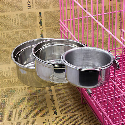 Stainless Steel Cage Coop Pet Dog Bowl Crate Cat Puppy Food Water Feeder Dish