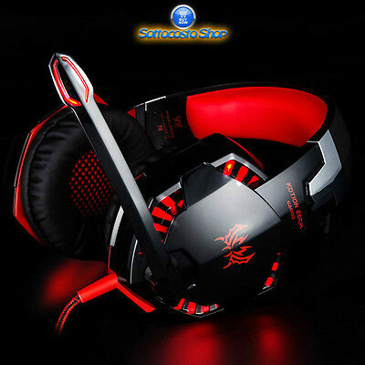 Gaming Headset Kotion Each G2000 Cuffie Da Gioco Con Microfono Luci Led Rosse