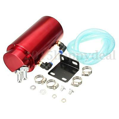 1x Universal Aluminum Racing Oil Catch Tank/CAN Turbo Reservoir Billet Red Round