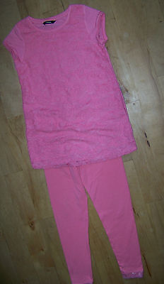 Girls Pink Short Sleeve Top & Leggings Set Age 9-10.