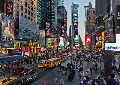 New York Time Square Landscape Art Large Poster Print - A0, A1, A2, A3, A4