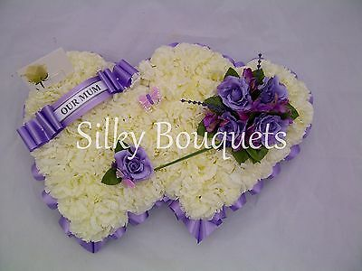 Artificial Silk Funeral Mothers Day Flower Double Heart Wreath Tribute Memorial