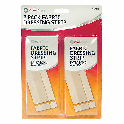 2 x LONG DRESSING STRIPS LARGE 100cm x 6cm FLEXIBLE FABRIC FIRST AID