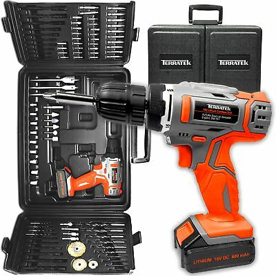 Terratek 18V Cordless Drill Driver, Electric Screwdriver & 89Pc Accessory Set