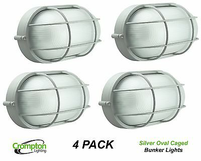 4 x Crompton Silver Oval Caged Exterior Bunker Outdoor Light EX7100A