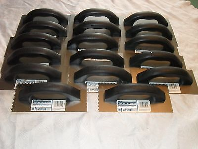 """Lot of (17) Square 3/32"""" X 3/32"""" X 3/32""""  NOTCHED TROWELS by SUPERIORBILT  Dual"""