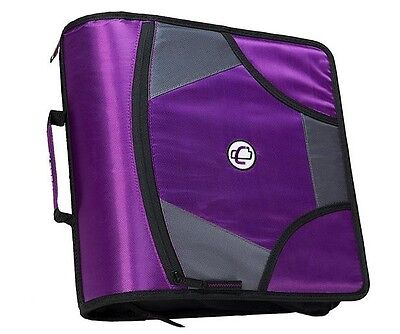 New Case-it XL 3 Ring D-Ring 4 INCH Zipper Binder with 5-Tab File Folder, PURPLE