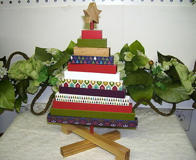 Folk Art Christmas Tree Fold Up Wood Christmas Wrap Decor On Limbs 11""