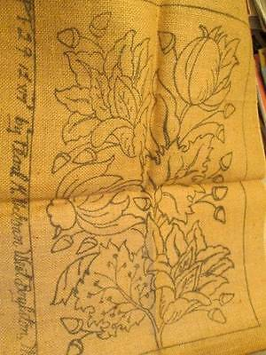 Pearl McGown Flowers & Leaves Burlap Rug Canvas PT29 -12x17 Inches