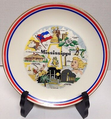 Mississippi State Plate Souvenir Part Of The Rhythm Homer Laughlin Red Blue Trim