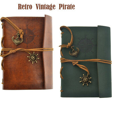 2pcs Vintage Classic Retro Leather Journal Travel Notepad Notebook Blank Diary B