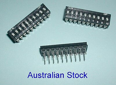 10 way DIP Switch -Quantity of 6 PCB mount 10 way switch
