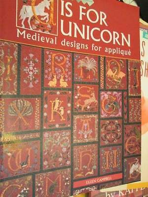 U Is For Unicorn-Medieval Designs For Applique Sewing Craft Book-Campbell- Drago