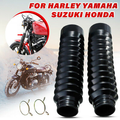 2PCS Universal Rubber Motorcycle Fork Cover Gators Boots Gaiters Dustproof 27mm