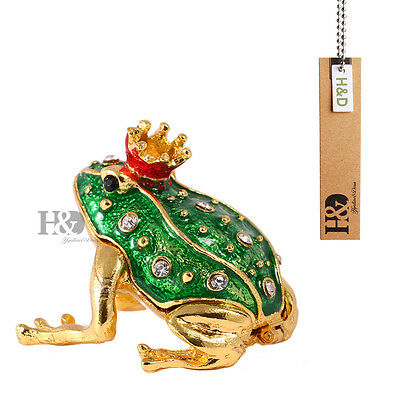 Handmade Crystal Metal Green Frog Trinket Boxes Jewelry Collectibles Rhinestone