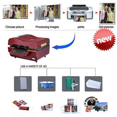 3D Sublimation Heat Press Machine for Phone Cases Mugs Cups Heat Transfer Maroon