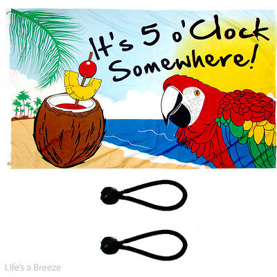 It's 5 o'clock Somewhere Flag 5x3ft Poles Or Windsocks Poles.With FREE BALL TIES