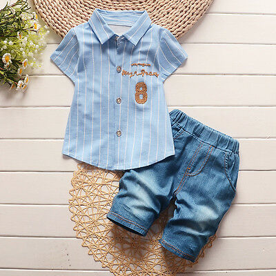 Baby clothes baby kids boy summer clothes 2-piece cotton shirt & short pants