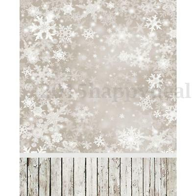 3x5FT Christmas Snow Photography Backdrops Wood Photo Background Studio Props