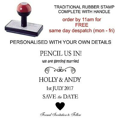 Personalised Pencil Us In Save The Date Wedding Invitation Rubber Stamp 11617
