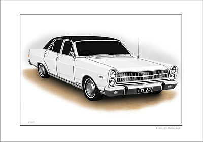 Ford  71'   Zd  Fairlane  500  351 V8    Limited Edition Car Print  Drawing