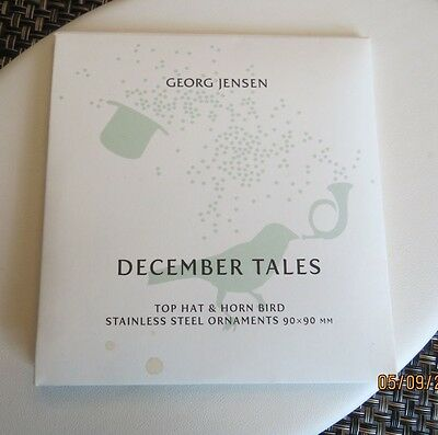 2 Vintage Georg Jensen Stainless Steel Christmas Ornaments Orig Pack Never Used