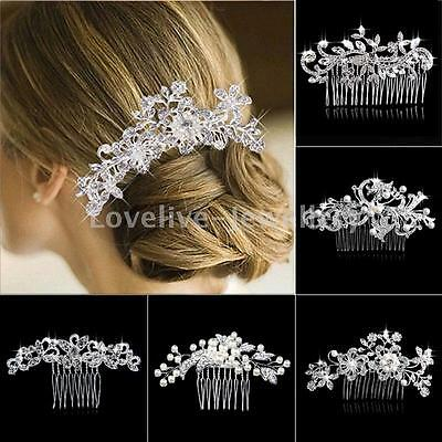 Wedding Bridal  Diamante Crystal Pearl Leaf Flower Hair Combs Slide Clip Tiara