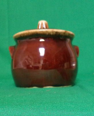 Vintage Hull Brown Drip Jam Or Jelly Jar With Notched Lid For Spoon