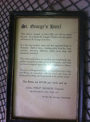 Bermuda ad, St. George's Hotel, Rose Hill,  Original  Page from1891 Travel Book