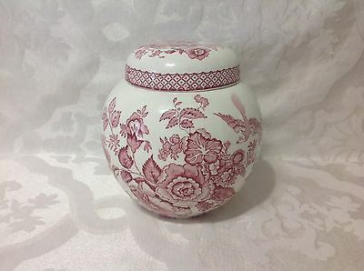 1940 Mason's England Red Floral Print Ironstone Ginger Jar; Great