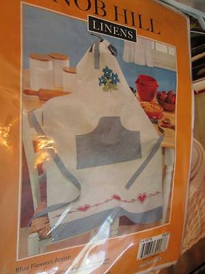 Nob Hill Blue Flowers & Red Hearts Apron Stamped Cross Stitch Kit- 28x39 Inc