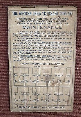 The Western Union Telegraph Company Switchboard Instructions 1-B!!!!!!!!