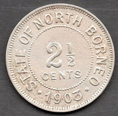 1903 British North Borneo - 2 1/2 Cent Coin  *** Vf Condition ***