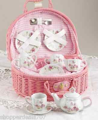 Delton Products Rose Tea Set for 2, Pink Porcelain Ceramic Butterfly and Rose
