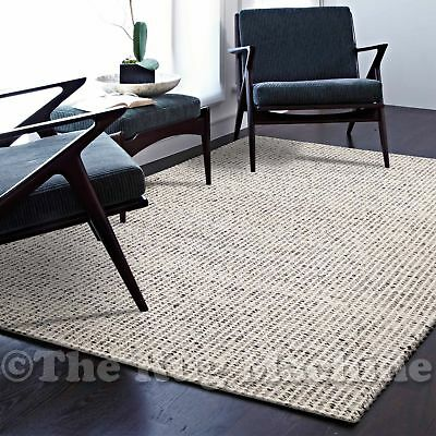 MALMO GREY HANDKNOTTED NATURAL WOOL SIMPLE MODERN FLOOR RUG 190x280cm **NEW**
