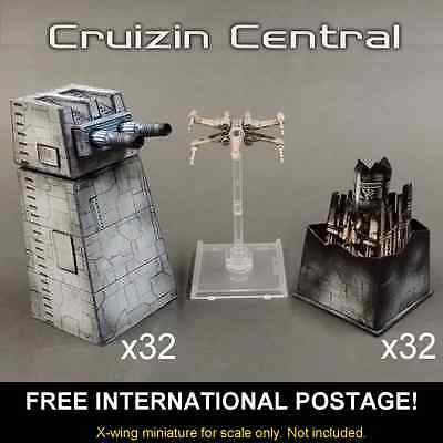 32x Turbo Laser Turret & magnet for Star Wars X wing miniatures paper craft card
