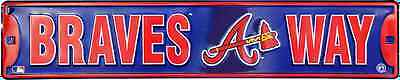 "ATLANTA BRAVES STREET SIGN 24"" x 5"" EMBOSSED METAL BRAVES WAY TOMAHAWK GAME ROOM"