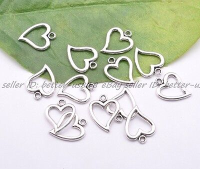 20Pcs Tibet Silver Lovely Heart Charms Pendant Jewelry Finding 14X17MM A3001