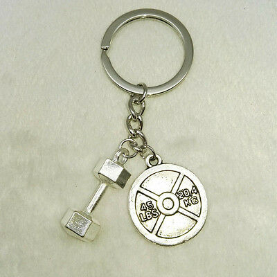 45 lbs& dumbbell Charm Keychain Fitness Weightlifting Gym crossfit