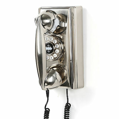 Vintage Chrome Wall Phone Retro Corded Telephone Rotary Push Button Home Accent