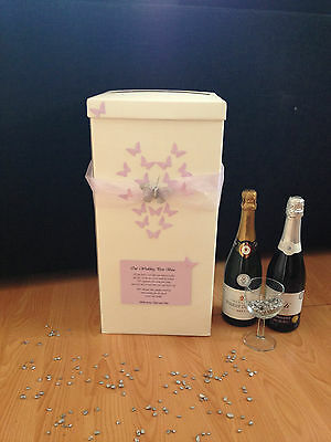 Personalised Wedding Card Post Box - Lilac Heart Butterflies