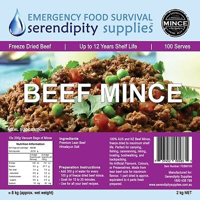 SERENDIPITY SUPPLIES Freeze Dried BEEF MINCE 100 Serve 12 Year Shelf Life