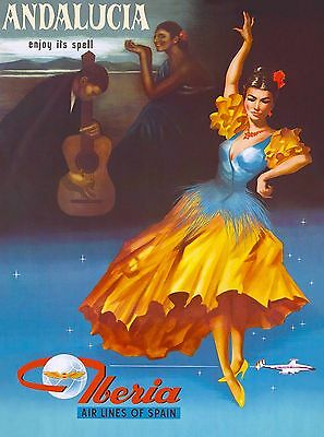 Andalucia Spain Spanish Europe Iberia Air Vintage Travel Advertisement Poster