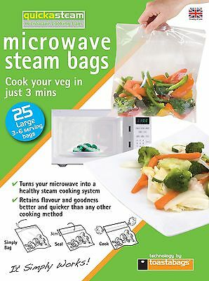 Quickasteam - Large Size Microwave Steam Bags 25 Pk