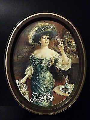 Vintage Pepsi Cola Advertising Oval  Serving Tray Victorian Lady