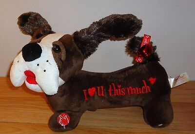 "Dan Dee plush ""I LOVE YOU THIS MUCH"" Music & Motion PUPPY DOG Valentines Day"