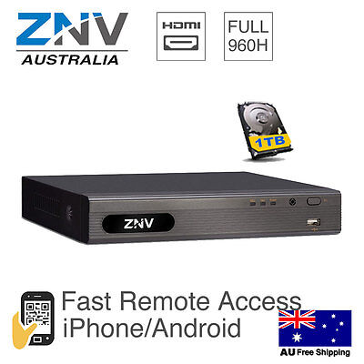 ZNV 4Ch AHD 1080p HDMI DVR Security System CCTV Digital Recorder with 1TB HDD