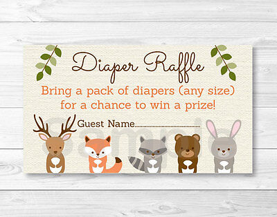 Woodland Forest Animals Baby Shower Diaper Raffle Tickets Printable