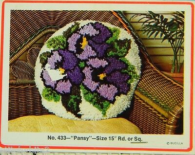 "Vtg 1960's - 1970's Bucilla Rug latch hook canvas Pansy #433 15"" x 15"" pillow"